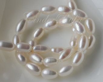 """Long Rice Freshwater Pearls,White Rice Pearls,Cultured Pearl,Grade AA,High Sheen,High Luster,15"""",6.5-7.5 mm"""