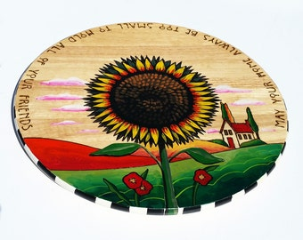 "18"" Sunflower Lazy Susan hand painted turntable"