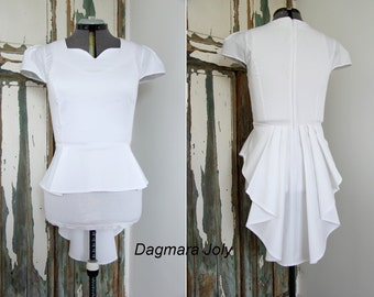 Cap sleeve women white peplum shirt,  short sleeves peplum top, peplum shirt, white shirt, white top, high low shirt,