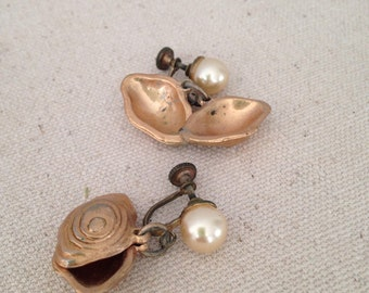 Pearl and Oyster Shell Earrings