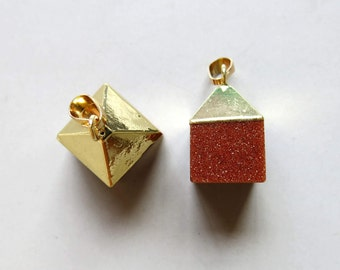 Golden Sandstone Cube Pendant with Golden Cap - B1244