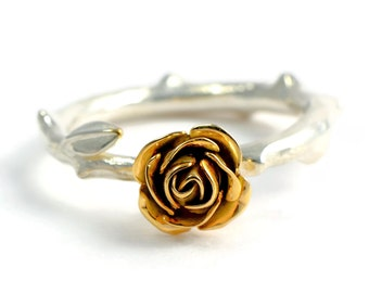 9ct Eco Gold Rose Ring - Flower Engagement Ring - Silver Rose Ring - Silver and Gold Ring - Wedding Ring - Handmade Custom Jewellery
