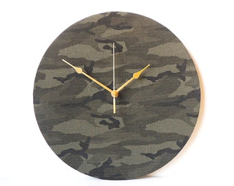 Camouflage Clock - Decoupage Green Fabric Wall Clock - Recycled Vinyl Record Clock - Camo Clock - Army Military Clock