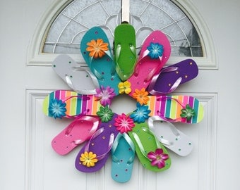 Summer Flip Flop Stripes Wreath