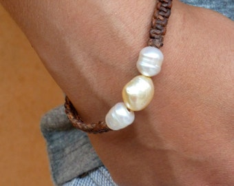 RESERVED Australian pearls and leather bracelet