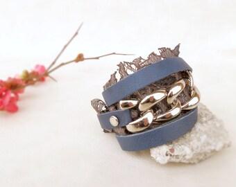 Navy blue bracelet with lace wrap bracelet, leather chain bracelet, blue leather cuff, boho chic bracelet,