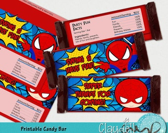 Superheros Spiderman Inspired Printable Candy Bar Wrapper - 300 DPI (Hershey Big)