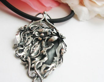 Sale -20% off- Cameo silver pendant - Flowers silver pendant -  Flowers silver necklace - Art Nouveau - vintage style