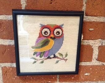 Vintage Owl Needlepoint Picture. Framed.