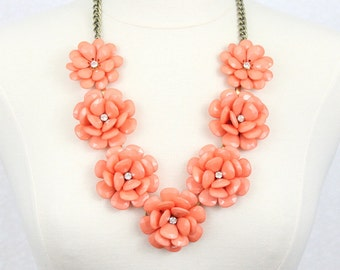 Beaded Rose Necklace Flower Statement Necklace Coral Orange Rosette Necklace