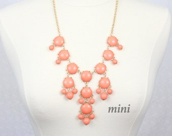 Coral Bubble Necklace Bib Necklace Mini Version Statement Necklace Orange Peach Pink