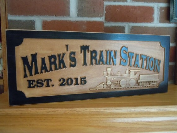 Items Similar To Personalized Wooden Carved Train Station