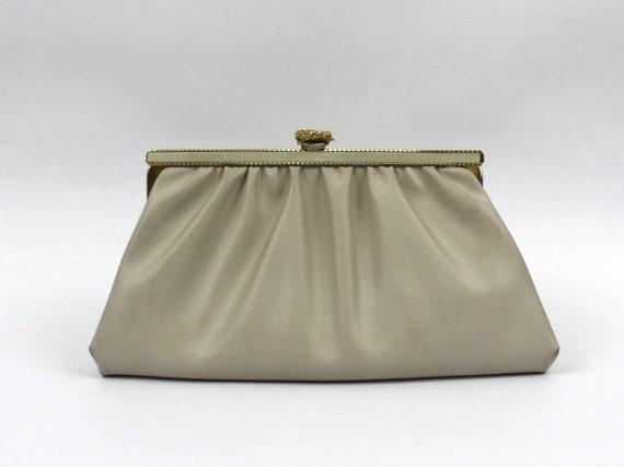 Cream Leatherette Clutch - 70s Evening Bag - Vintage 1970s Off White Handbag