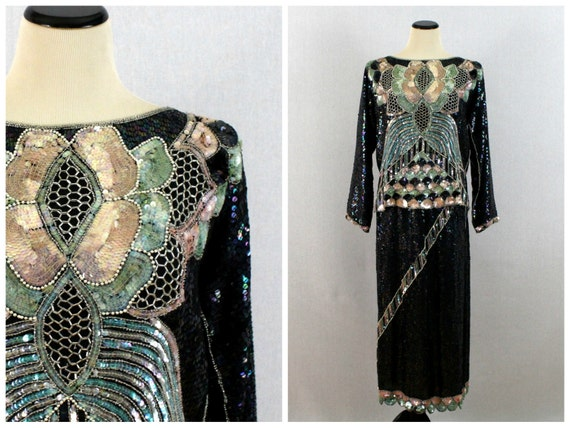 Beaded Silk Blouse and Skirt Set - 80s Beaded Separates Set - Vintage 1980s Beaded and Sequinned Two Piece Dress