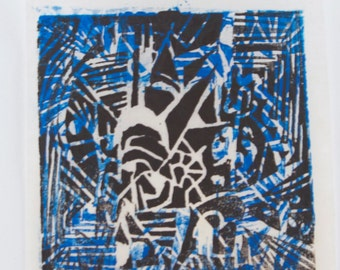 Black and Blue Abstract Woodcut- Small Square Print- Linear Geometric Woodblock