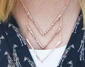 ROSE GOLD Simple Three Layer Stacked Chevron Necklace Minimalist Dainty Delicate Triangle Arrow