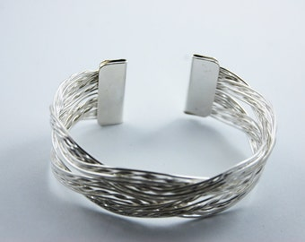Silver Cuff Bracelet With Interwoven Braided Pattern Adjustable Simple Dainty