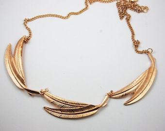Gold Plated Feather Leaf Three Triple Necklace Statement Bib