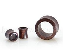 Pair of Flared Sono Wood Ear Tunnel Plugs, Tribal Organic Wood Plugs, Ear Lobe Piercing Jewelry, Body Jewelry, His & Hers Plugs