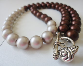 Brown and Silver Pearl Necklace with Silver Rose Toggle Clasp