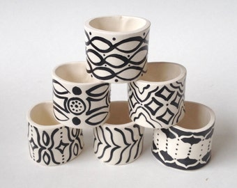 1 Set, Ready to Ship, Napkin Rings, 6, Tableware, Wedding, Gift, Rustic, Ceramic, Charming, Nordic, Ethnic,  Ceramica, Spanish, Indian
