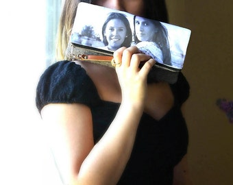 Foldover Clutch with Custom Photo. Personalized Picture Purse with Leather Wristlet Strap,  12 Colors