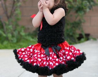 Minnie Mouse Pettiskirt, Girl Tutu, Tutu Skirt, Photo Prop, Pettiskirt, Baby Girl outfit, Baby Girl Gift, Red Black Tutu Skirt