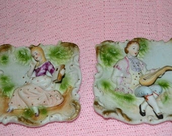 SALE - Vintage Victorian Man And Lady Bisque 3-D Wall Plaques