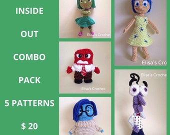 INSIDE OUT Crochet Patterns Combo Pack - Joy/Anger/Disgust/Sadness/Fear - pdf only