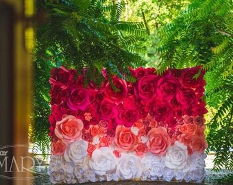 Ombre Paper Flower Wedding Backdrop - Wedding Backdrop - Paper Flower Backdrop - Paper Flowers