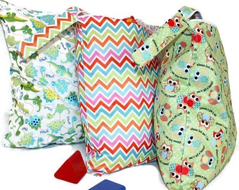 SALE!!! 3 WET BAGS! - Great To Store  Reusable Cloth Diapers,Washable and Reusable Zippered Wet  Bags!