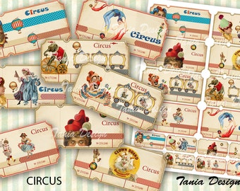 Vintage Circus  tickets - Digital Collage sheet printable images Background Ephemera Clip Art Embellishment