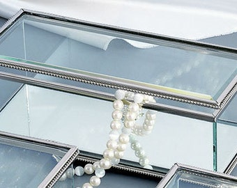 Glass Rectangular Jewelry Box - Large - Personalize Glass Jewelry Box