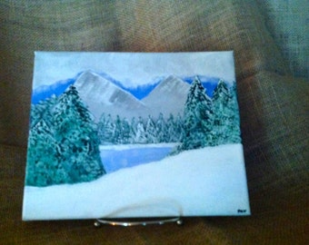 "Original 8 x 10 Stretched Canvas Acrylic Painting - ""Winter Lake"""