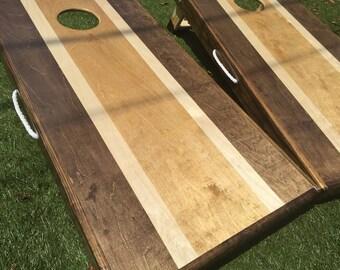 Tri-Stained Striped Custom Cornhole Set