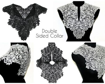White Black Lace Crochet Collar Applique for Fashion Crafts
