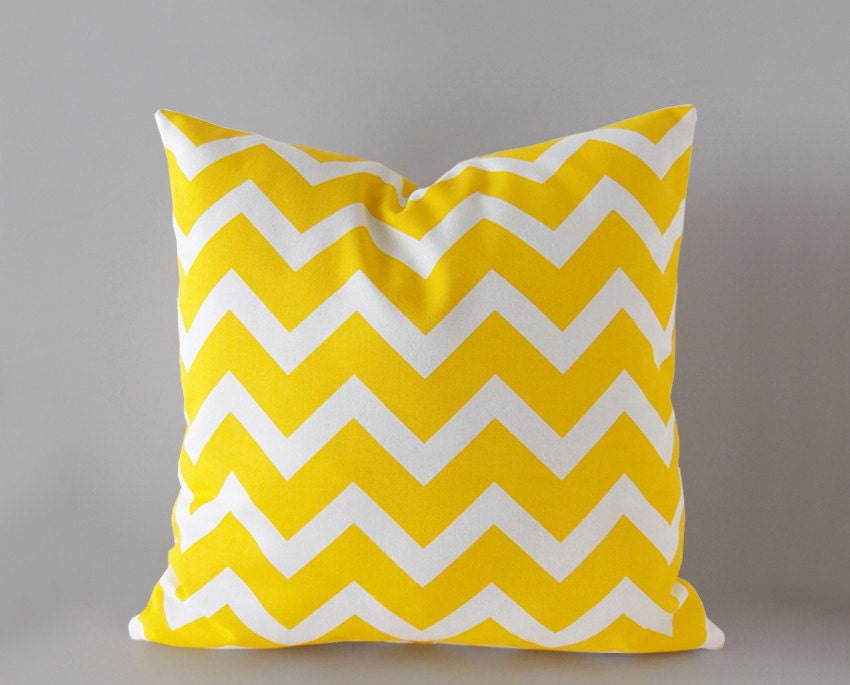 Bright Yellow Decorative Pillows : Sale 30% off Chevron in bright yellow decorative pillow