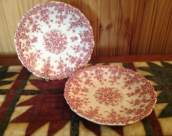 Set of 2 Early English Saucers By Crown Ducal Pink Ivy Pattern