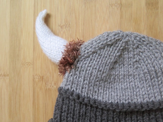 Knitting Patterns For Viking Hat : Items similar to Viking Hat - Knitted Viking Hat - Knit Viking Hat with horns...