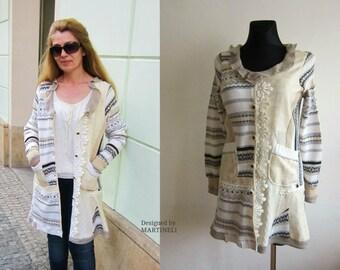 Beige Ivory Sweater Coat, Extravagant Coat, Patchwork Coat, Recycled Sweaters, Boho Top, Lace Coat, Bohemian Style, Bohemian Coat