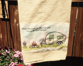 What happens at the camper floursack tea towel