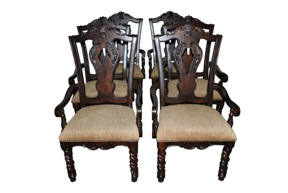 6 heavy duty dining chairs armchairs carved dark mahogany. Black Bedroom Furniture Sets. Home Design Ideas