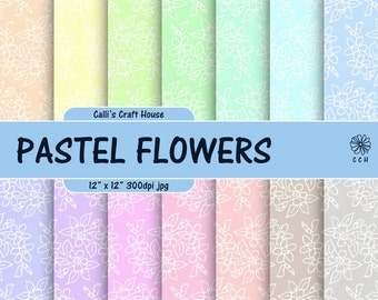 Pastel Flowers Digital Papers - 14 soft pastel backgrounds - floral background pattern - Commercial Use - Instant Download