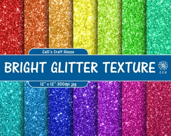 Bright Glitter Digital Paper - glitter backgrounds in 14 rainbow colors - digital glitter paper - Commercial Use - Instant Download