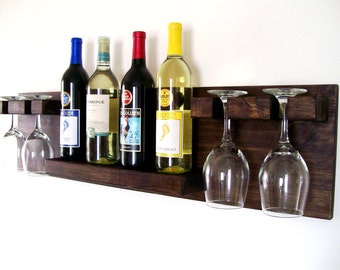 Wood Wine Rack Wine Bottle Wine Glass Wine Shelf Dark Walnut Brown or Natural (no color)