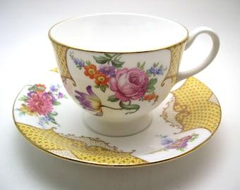 Aynsley Tea Cup and Saucer,  Antique Aynsley  tea cup and saucer, Yellow tea cup, English Fine bone China.