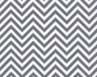 Grey Chevron Fabric - Remix by Ann Kelle from Robert Kaufman. Gray Zig Zag. 100% cotton. AAK-10394-12 Grey on White