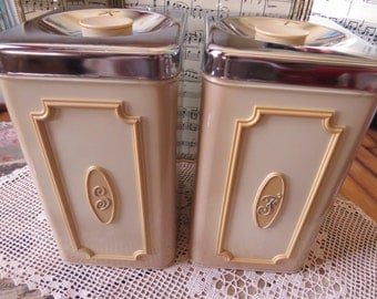 Vintage Set of Two Kitchen Canisters Flour Sugar Cream and Tan Country Cottage Farmhouse Decor