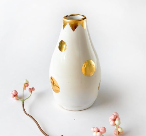white and gold polka dot vase bud vase 22k gold luster