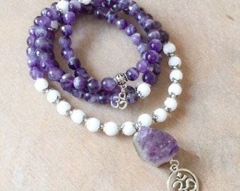 Amethyst Mala 108 Beads   Amethyst White Jade with Crystal Geode   Yoga Om Aum Bracelet   Meditation Prayer Beads Japa Mala